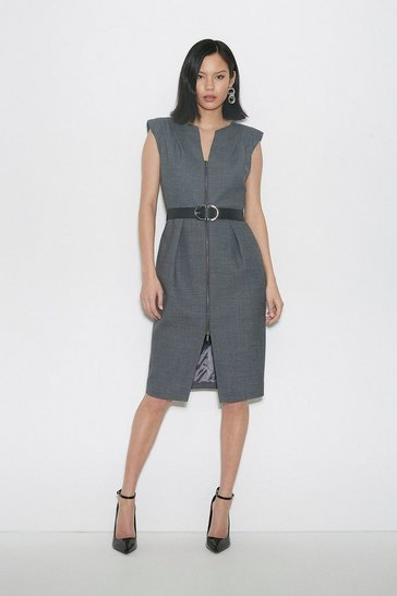 Grey Black Label Italian Stretch Wool Zip Dress