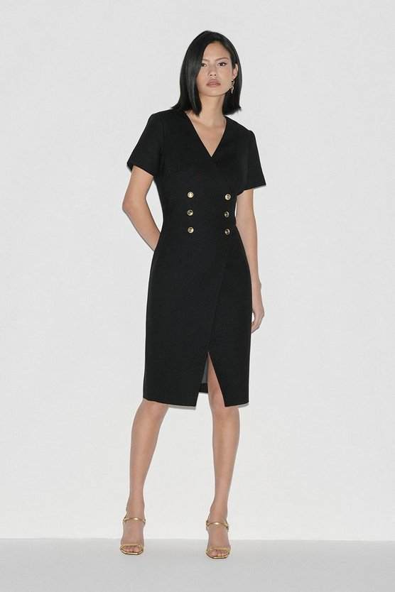 Black Italian Stretch Wool Dress