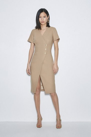 Camel Italian Stretch Wool Dress