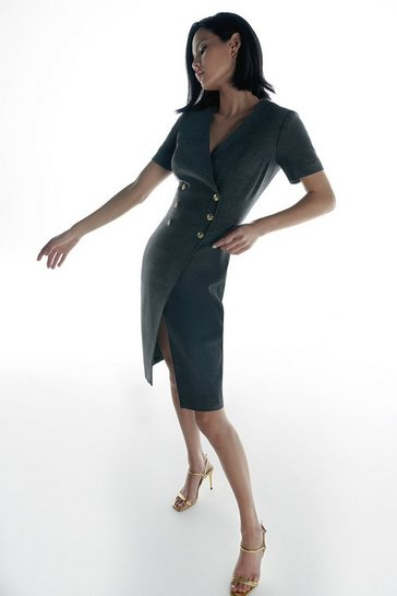 Grey Italian Stretch Wool Dress