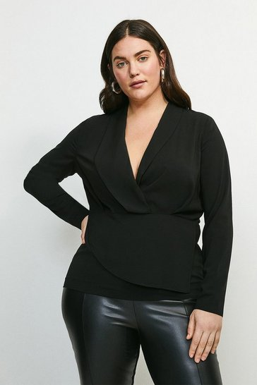 Black Curve Drape Long Sleeve Top