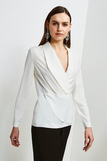 Ivory Drape Long Sleeve Top