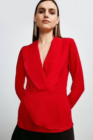Red Drape Long Sleeve Top