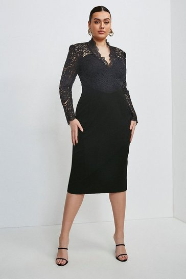 Black Curve Italian Lace Long Sleeve Forever Dress