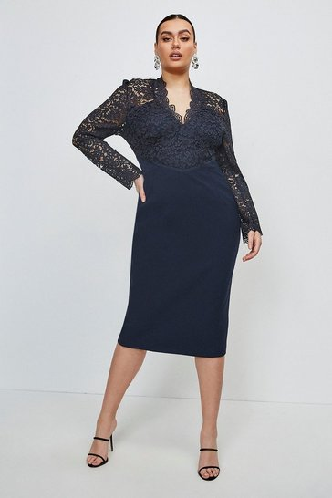 Navy Curve Italian Lace Long Sleeve Forever Dress