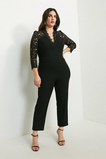 Black Curve Italian Lace Long Sleeve Forever Jumpsuit