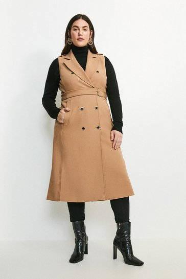 Camel Curve Compact Stretch Sleeveless Coat
