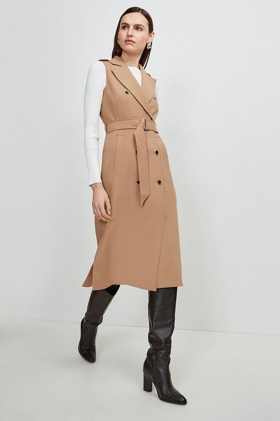 Camel Compact Stretch Sleeveless Coat