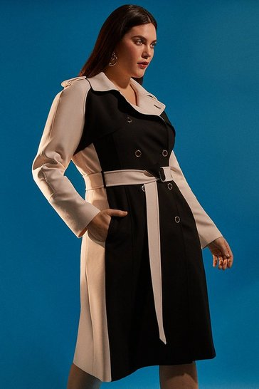 Blackwhite Curve Compact Stretch Contrast Trench Coat