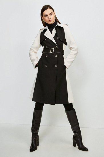 Blackwhite Compact Stretch Contrast Trench Coat