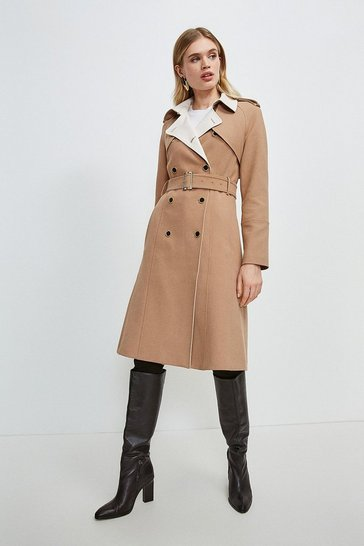Natural Compact Stretch Contrast Trench Coat