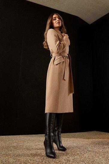 Camel Compact Stretch Notch Neck Belted Coat