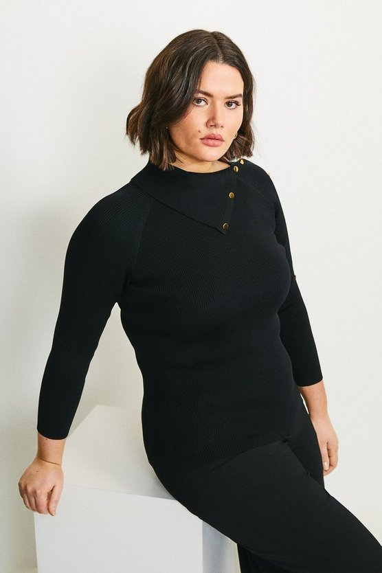 Black Curve Ribbed Popper Detail Split Neck Jumper