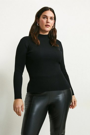 Black Curve Long Sleeve Rib Funnel Neck