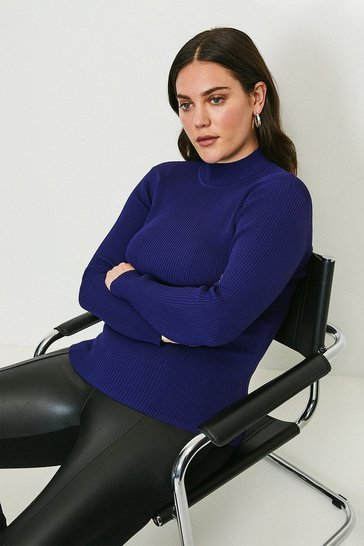 Midnight Curve Long Sleeve Rib Funnel Neck