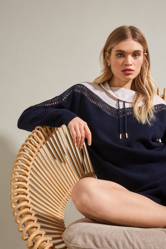 Navy Lace Insert Funnel Neck Jumper