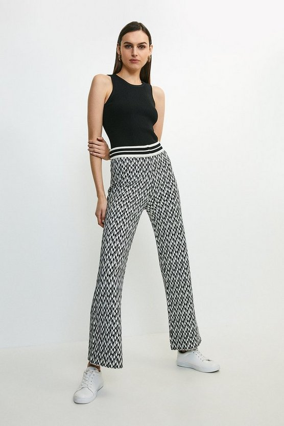 Blackwhite Graphic Jacquard Knit Trouser