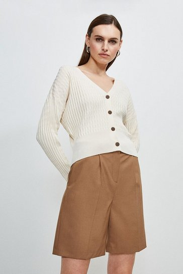 Ivory Tipped Racked Rib Knit Cardigan