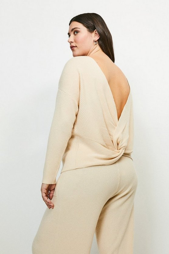 Oatmeal Curve Cashmere Blend Twist Back Jumper