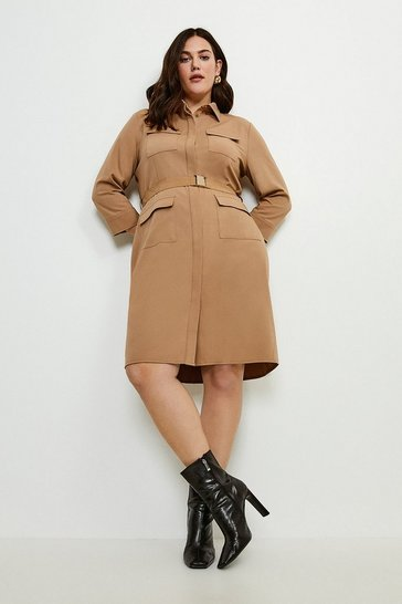 Camel Curve Clean Utility Belted Shirt Dress