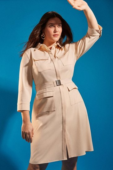 Cream Curve Clean Utility Belted Shirt Dress