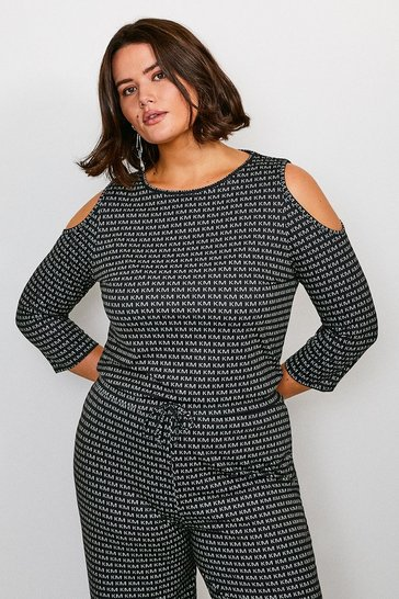 Mono Curve KM Logo Cold Shoulder Lounge Top