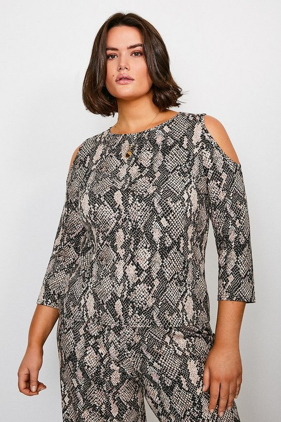 Curve Snake Print Cold Shoulder Lounge Top
