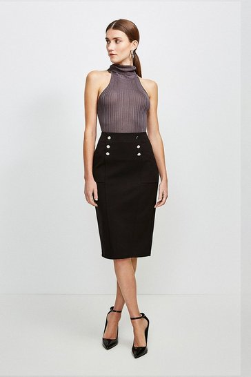 Black Button Pocket Ponte Midi Skirt