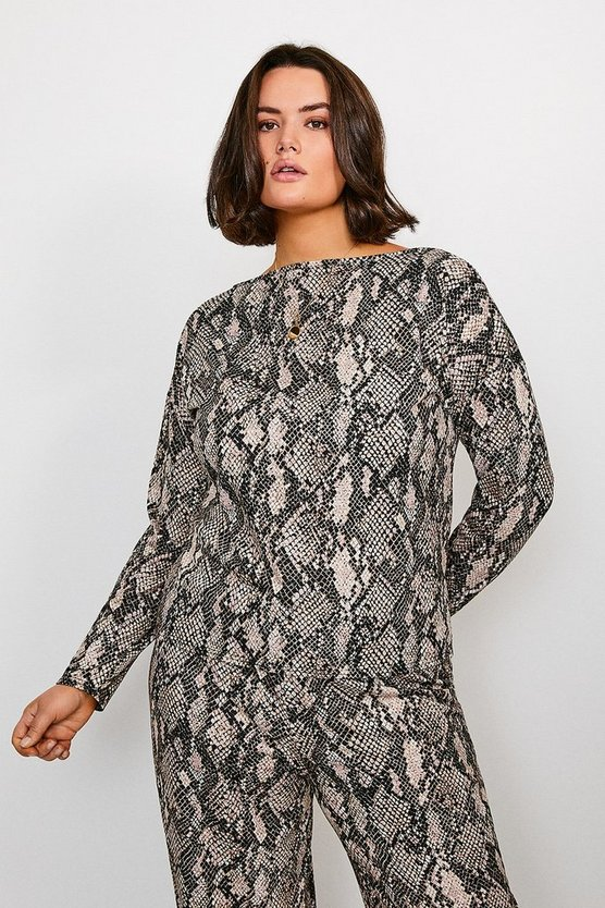 Curve Jersey Snake Print Batwing Lounge Top