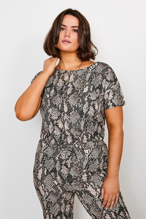 Curve Jersey Snake Print Short Sleeve Lounge Top