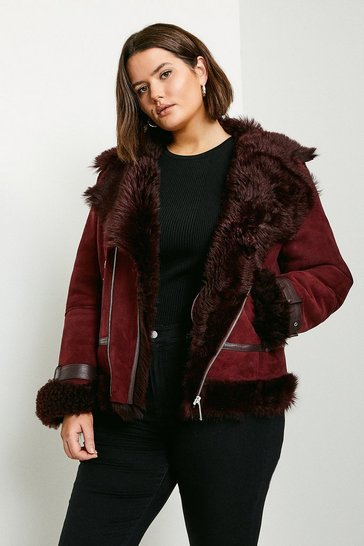 Wine Curve Shearling Aviator Coat