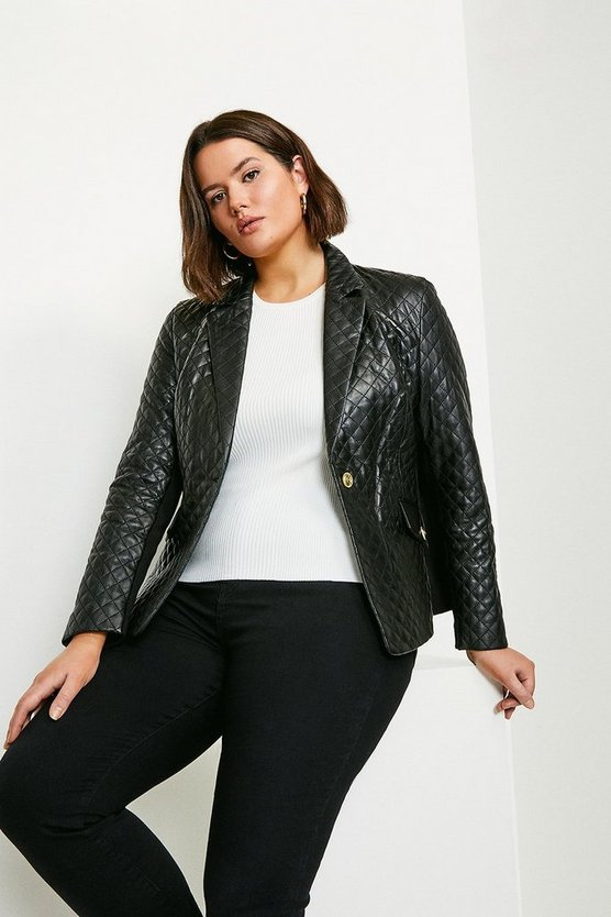 Black Curve Leather and Knit Blazer