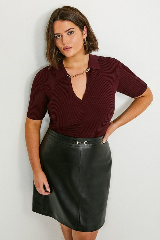 Black Curve Leather Snaffle Trim Mini Skirt