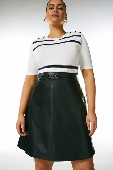 Navy Curve Leather Snaffle Trim Mini Skirt