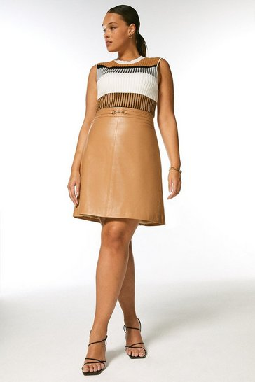Tan Curve Leather Snaffle Trim Mini Skirt