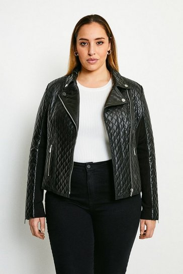 Black Curve Leather Quilted And Knit Panel Biker Jacket