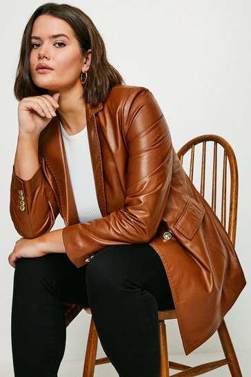 Tan Curve Leather Fitted Double Breasted Jacket