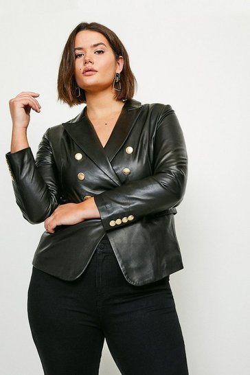 Black Curve Leather Button Blazer