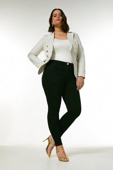 Ivory Curve Leather Button Blazer