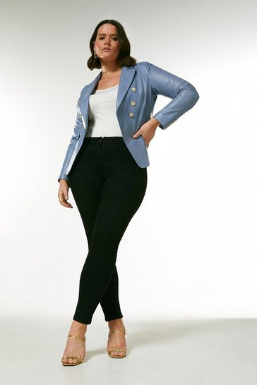 Pale blue Curve Leather Button Blazer