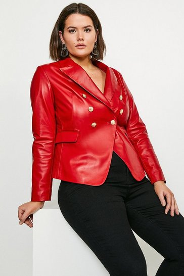 Red Curve Leather Button Blazer