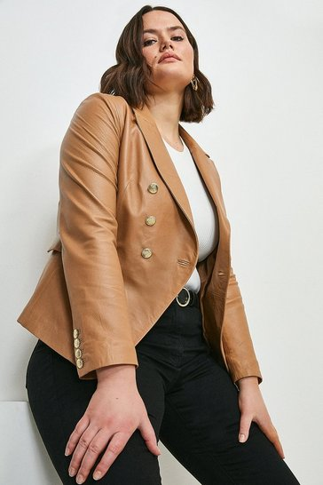 Tan Curve Leather Button Blazer