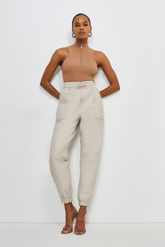 Nude Leather Perforated Side Detail Jogger