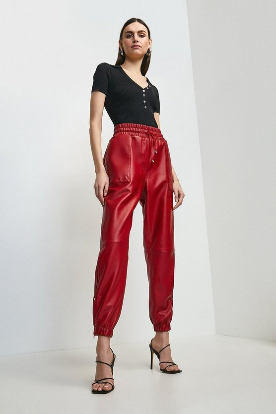 Red Leather Perforated Side Detail Jogger