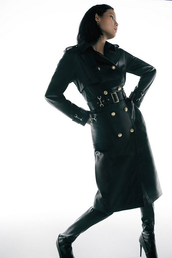 Black Leather Snaffle Trim Trench Coat