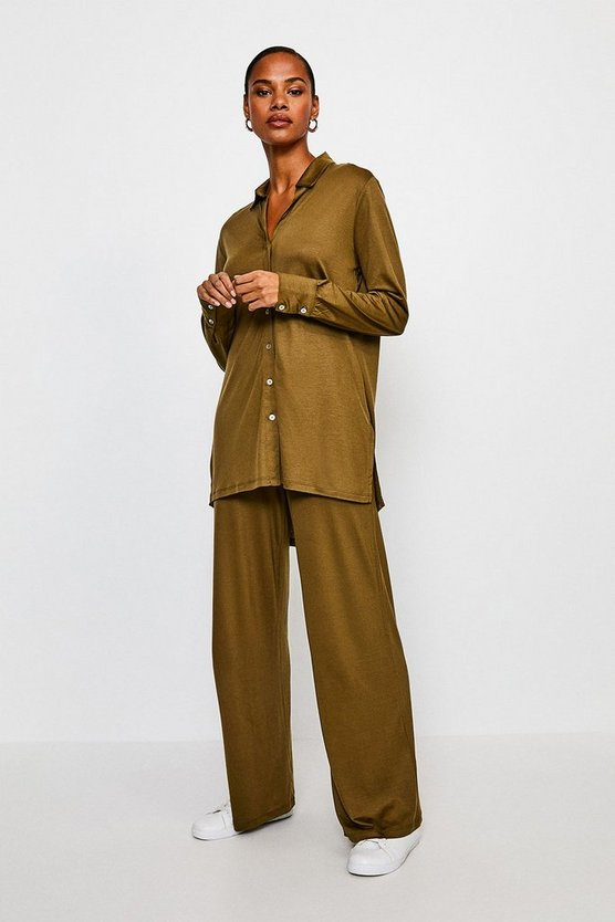 Khaki Lyocell Super Soft Lounge Wide Leg Trousers