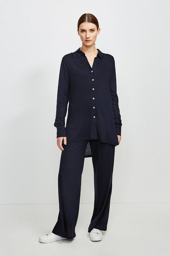 Navy Lyocell Super Soft Lounge Wide Leg Trousers
