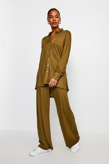 Khaki Lyocell Super Soft Lounge Shirt