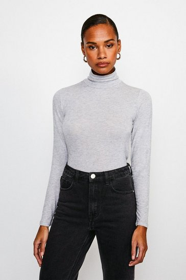 Grey Wool Mix Jersey Roll Neck Top