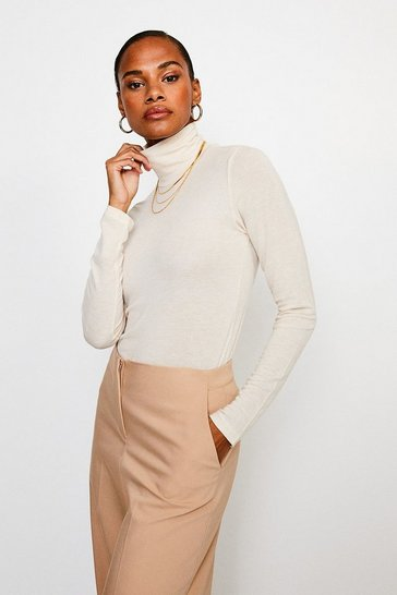 Oatmeal Wool Mix Jersey Roll Neck Top